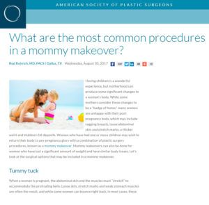 What are the most common procedures in a mommy makeover